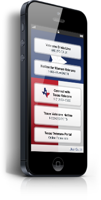 Texas Veterans App on mobile device