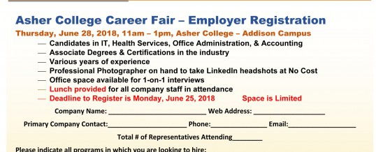 Dallas, Texas-Asher College Veteran and Civilian Career Fair