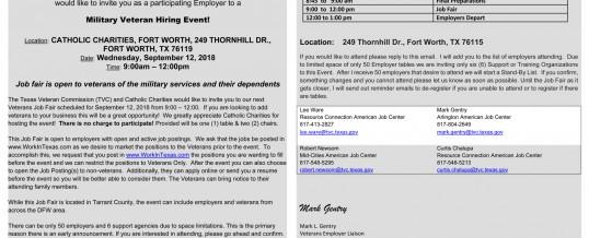 FT Worth, Texas: Catholic Charities Military Hiring Event