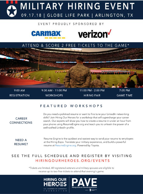 Arlington Texas Hiring Our Heroes Military Event