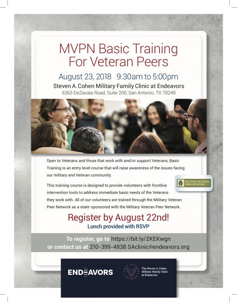 Flyer for MVPN Basic Training for Veteran Peers