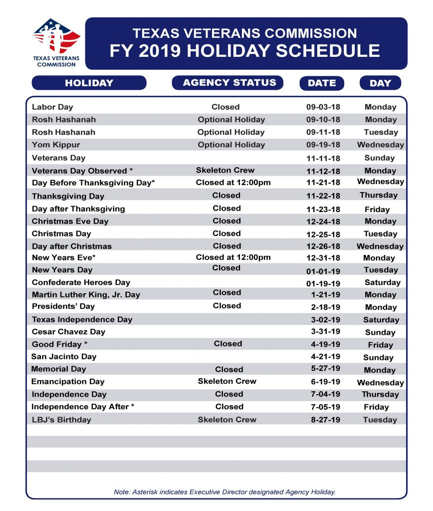 TVC Holiday Schedule FY19 - Texas Veterans Commission