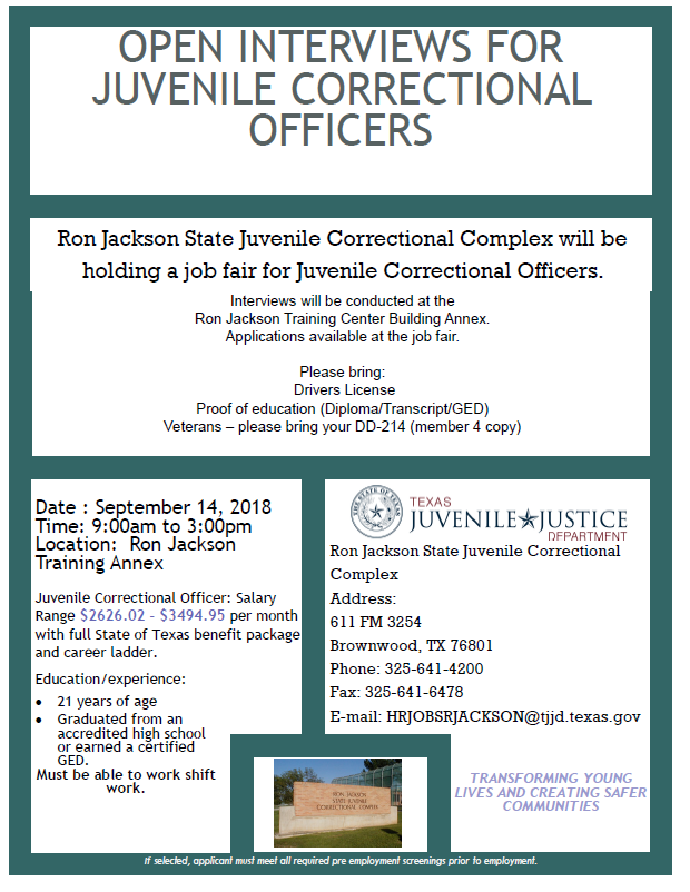 Open Interviews For Juvenile Corrections Officers Texas Veterans