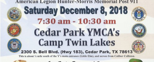 Breakfast with Santa Presented by American Legion Hunter-Morris Post 911 Cedar Park
