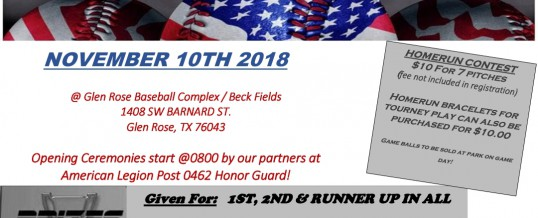 Heroes Sports 2nd Annual Veterans Day Softball Tournament & Fundraiser.