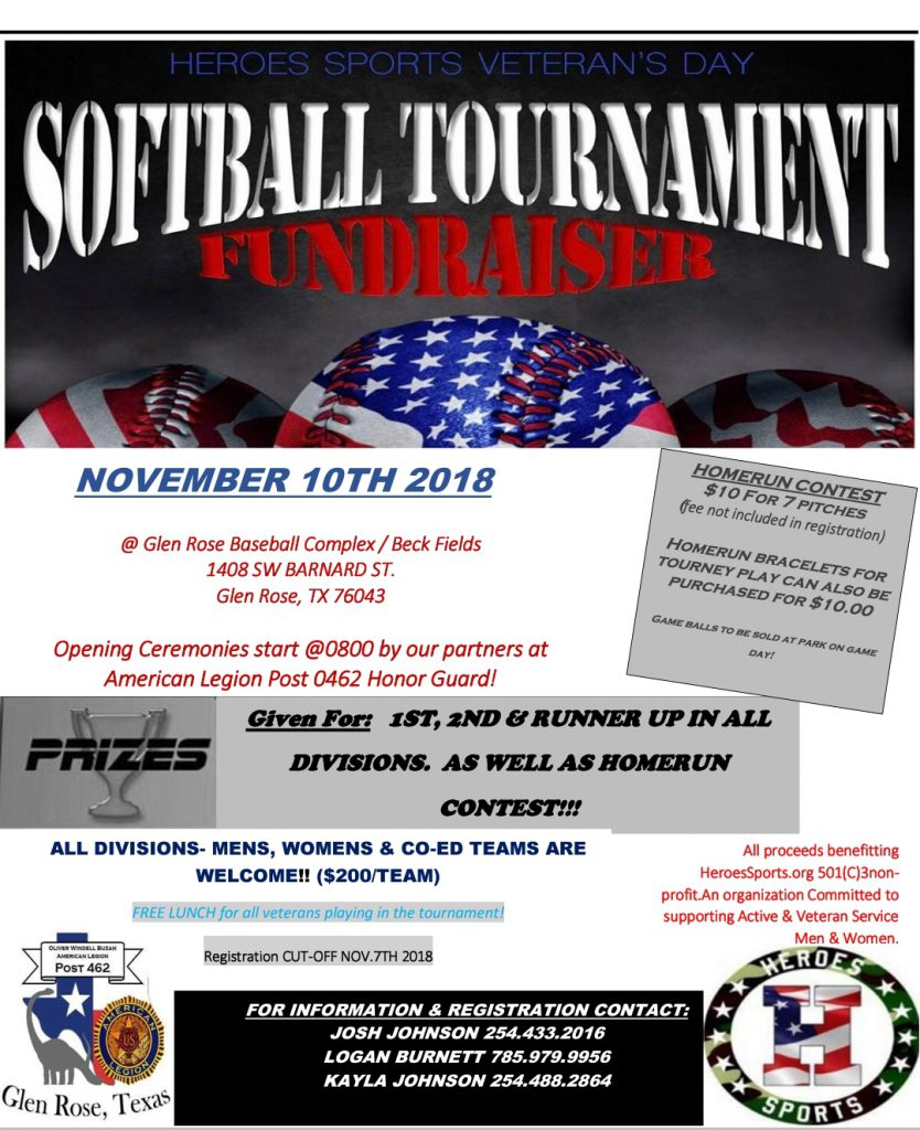 Heroes Sports 2nd Annual Veterans Day Softball Tournament