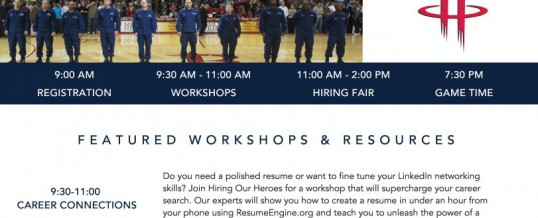 Military Hiring Event & Houston Rockets