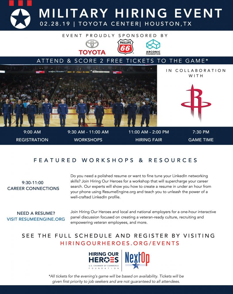 military hiring event  u0026 houston rockets