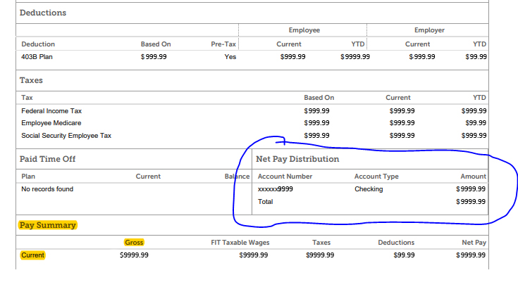 Net Pay Distribution section of direct deposit pay stub. EXAMPLE ONLY. Actual amounts redacted.