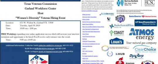 Texas-Woman Veteran's Diversity Hiring Event – Garland