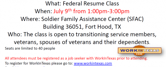 Federal Resume Class