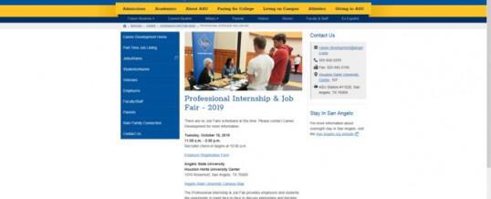 Angelo State University Professional Internship & Job Fair