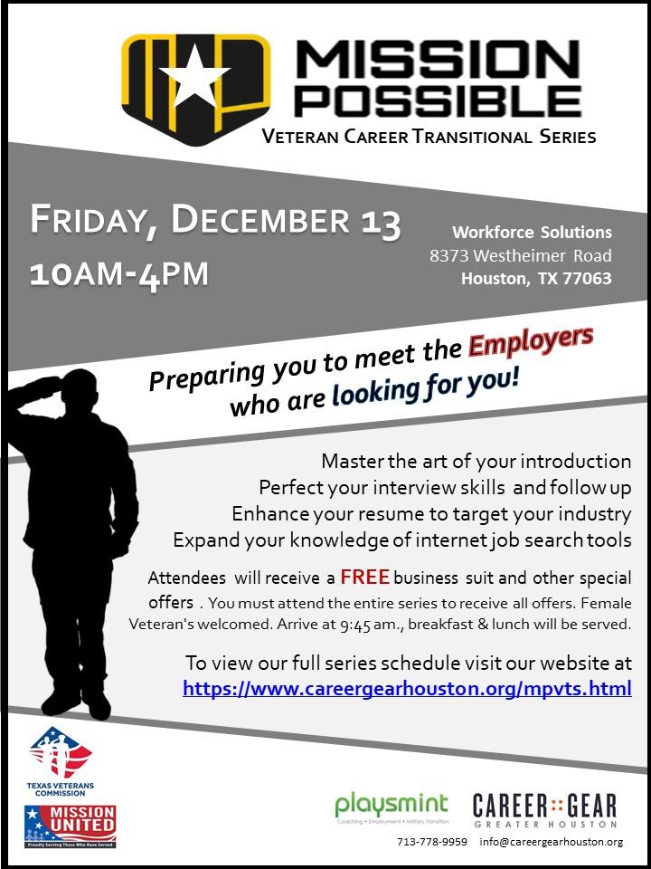 Houston Community College - Police Job Fair - Texas Veterans