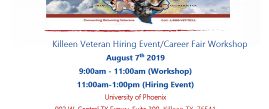 Killeen Veterans Hiring Event/Career Fair Workshop