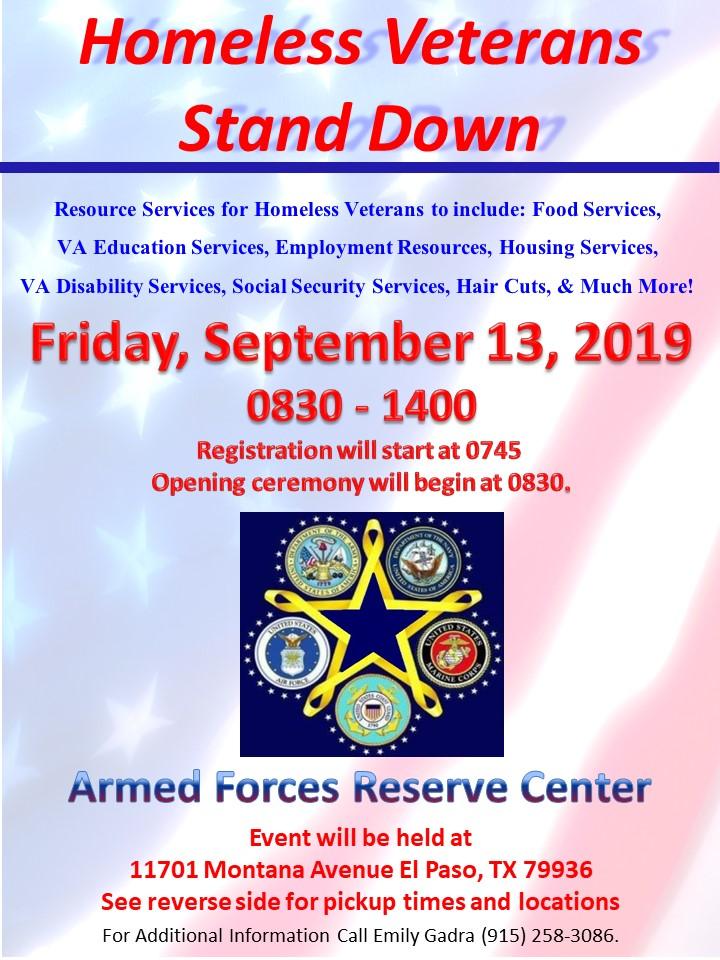 El Paso Homeless Veteran Stand Down - Texas Veterans Commission