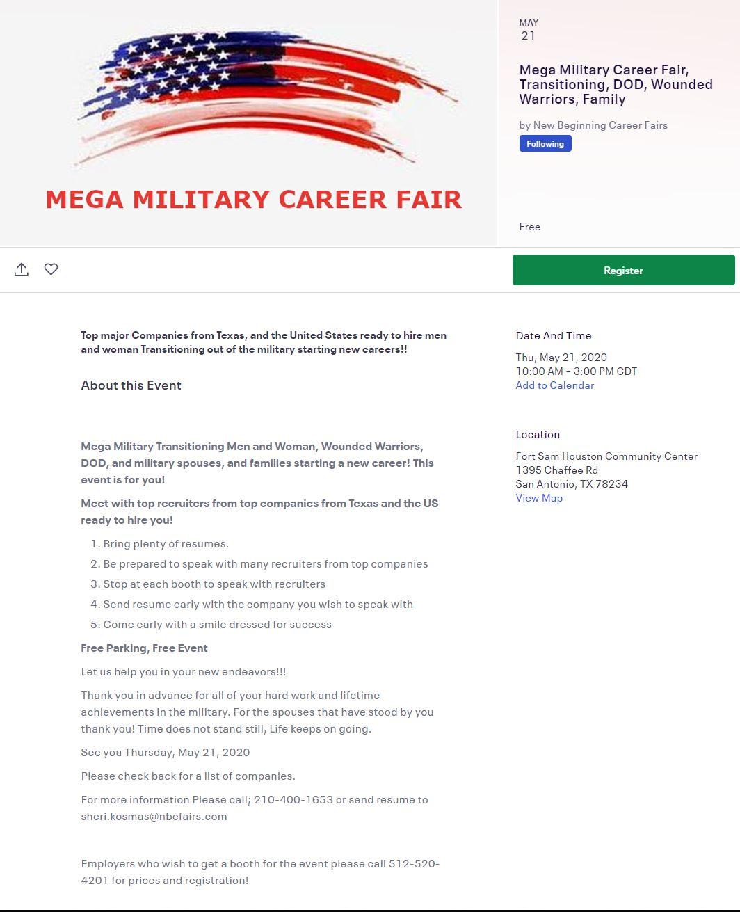 mega military veterans career fair