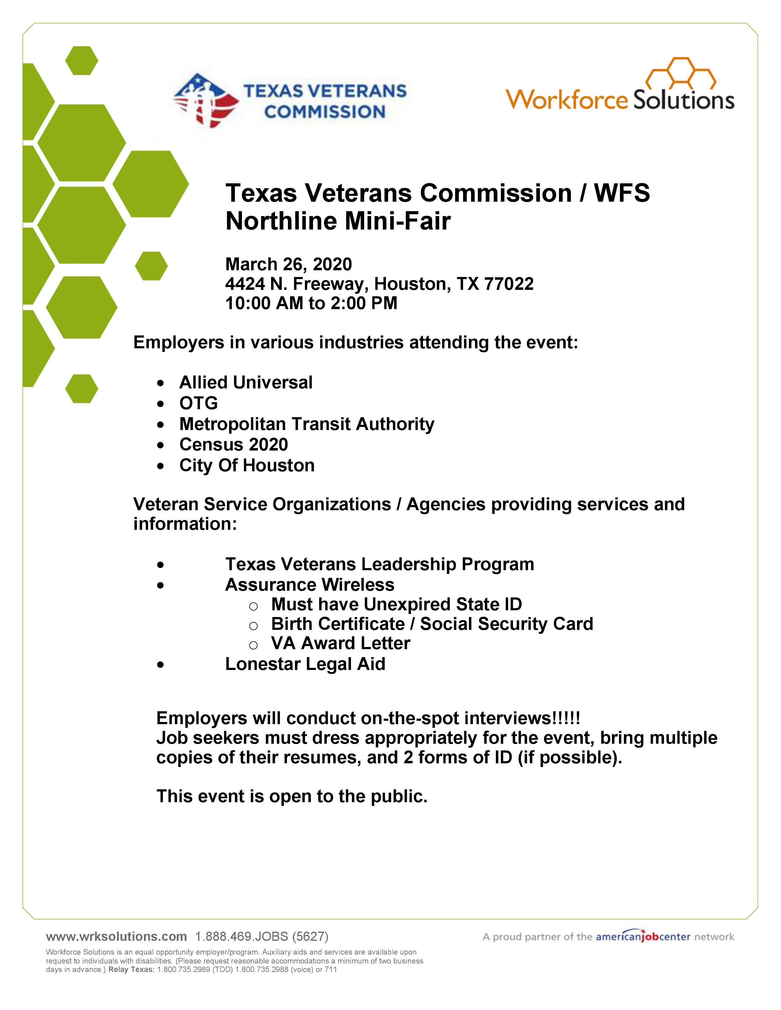 Texas Veterans Mission WFS Northline Mini Fair Texas