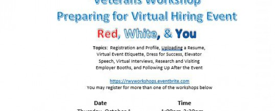 Veterans Workshop Preparing for Virtual Hiring Event Red, White, and You