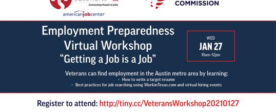"Employment Preparedness Virtual Workshop – ""Getting a Job is a Job"""