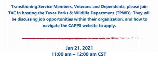 The Texas Parks & Wildlife Virtual Employer Showcase