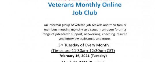 Veterans Monthly Online Job Club