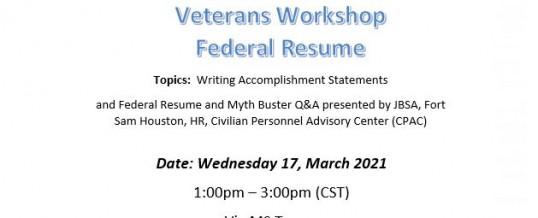 Virtual Veterans Workshop – Federal Resume