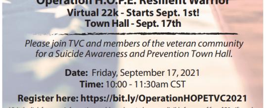 Operation H.O.P.E. Resilient Warrior 22K & Virtual Veteran Suicide Awareness Townhall