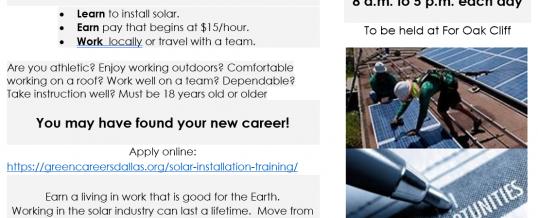 Dallas, Texas: Free Solar Installation Training