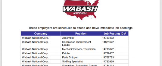 FT Worth/Cleburne Wabash International Hiring Event